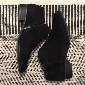 VINCE CAMUTO Pointed Toe Bootie (in Black Suede)